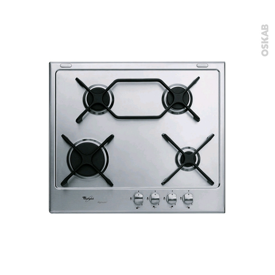 plaque de cuisson 4 feux gaz 60 cm inox whirlpool. Black Bedroom Furniture Sets. Home Design Ideas