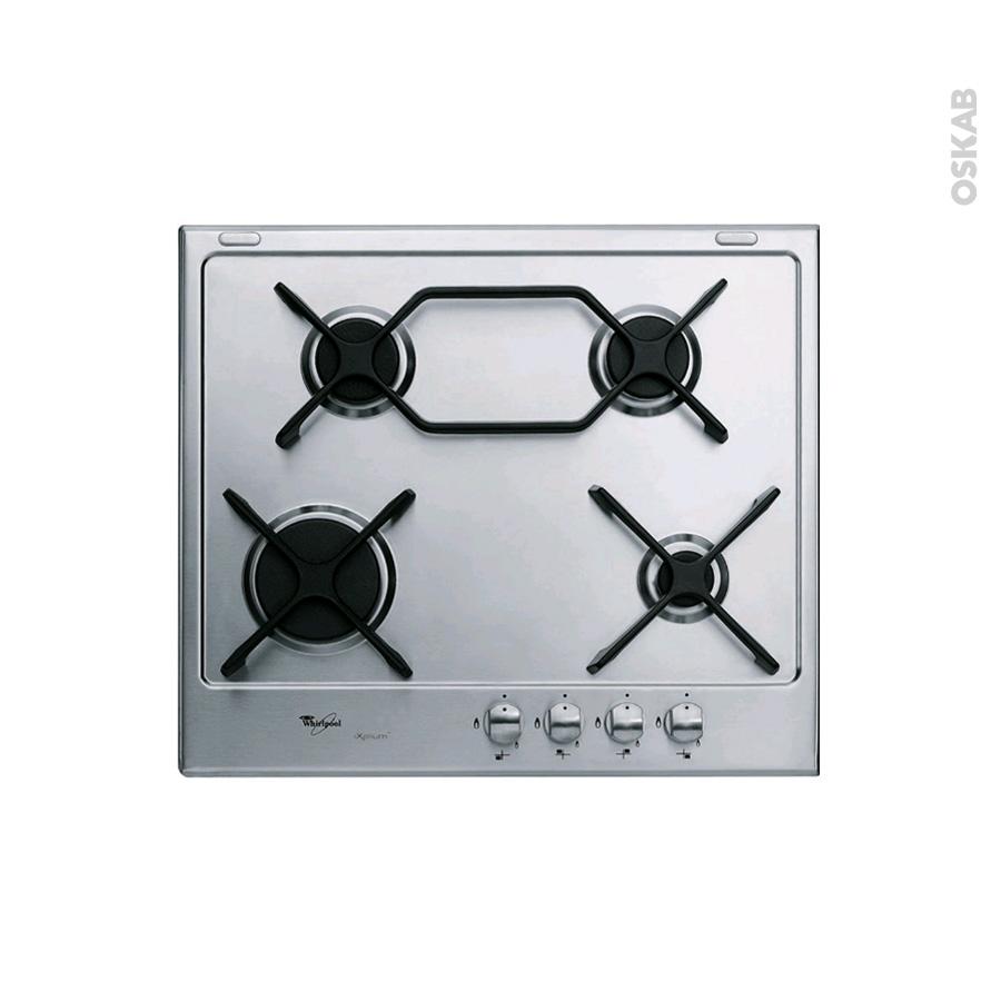 plaque de cuisson 4 feux gaz 60 cm inox whirlpool. Black Bedroom Furniture Sets. Home Design Ideas