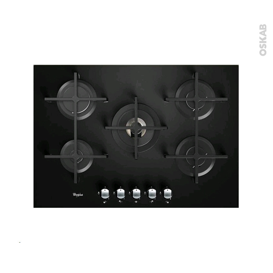 plaque de cuisson 5 feux gaz 75 cm verre noir whirlpool akt8000nb new oskab. Black Bedroom Furniture Sets. Home Design Ideas