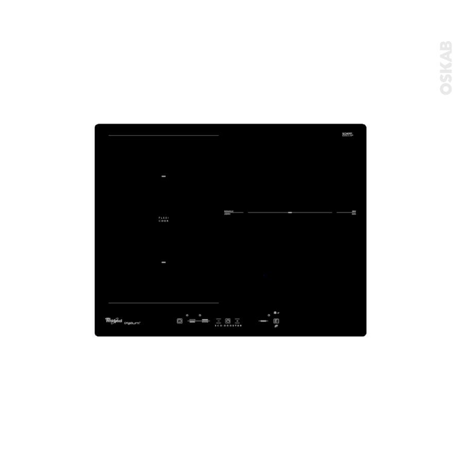 Plaque induction 3 foyers l60cm verre noir whirlpool for Nettoyage plaque cuisson verre