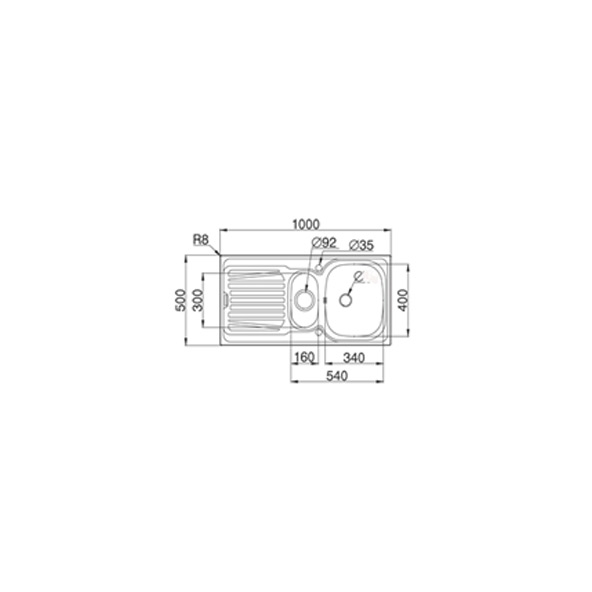 evier de cuisine alveo inox anti rayures 1 bac 1 2 gouttoir encastrer oskab. Black Bedroom Furniture Sets. Home Design Ideas