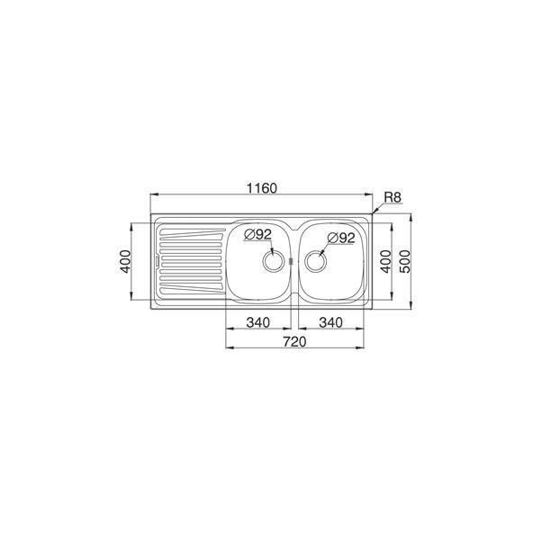 evier de cuisine alveo inox anti rayures 2 bacs gouttoir encastrer oskab. Black Bedroom Furniture Sets. Home Design Ideas
