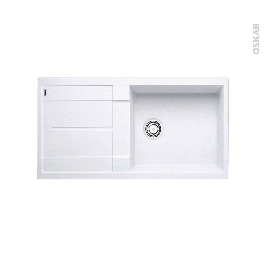 Evier de cuisine metra xl6s granit blanc 1 grand bac for Evier non encastrable