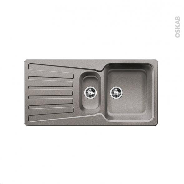 Evier de cuisine nova 6s granit alum tallic 1 bac 1 2 for Evier blanco 2 bacs