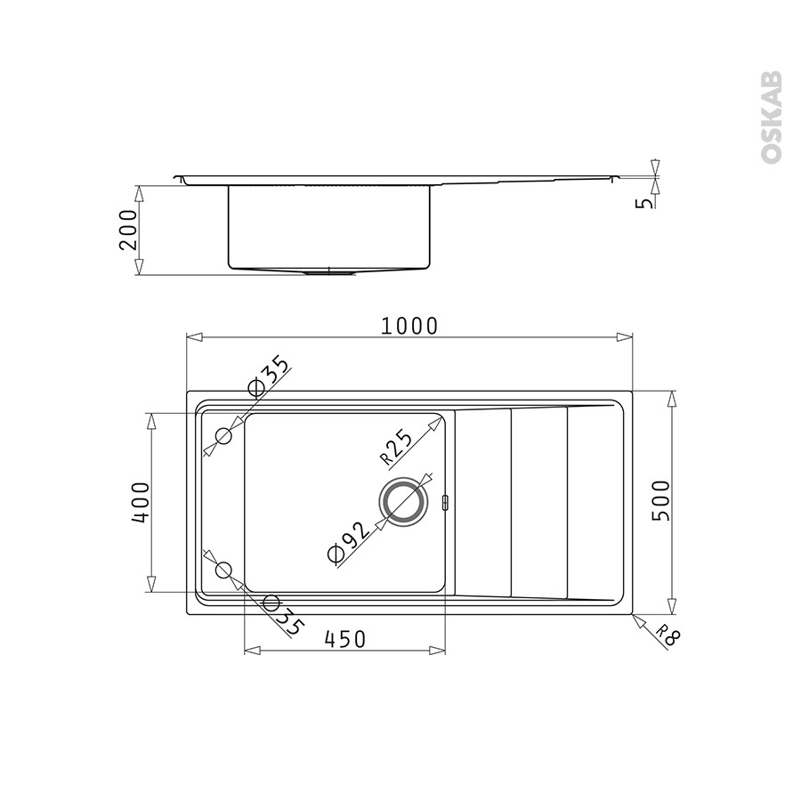 evier de cuisine comacio inox anti rayures 1 grand bac. Black Bedroom Furniture Sets. Home Design Ideas