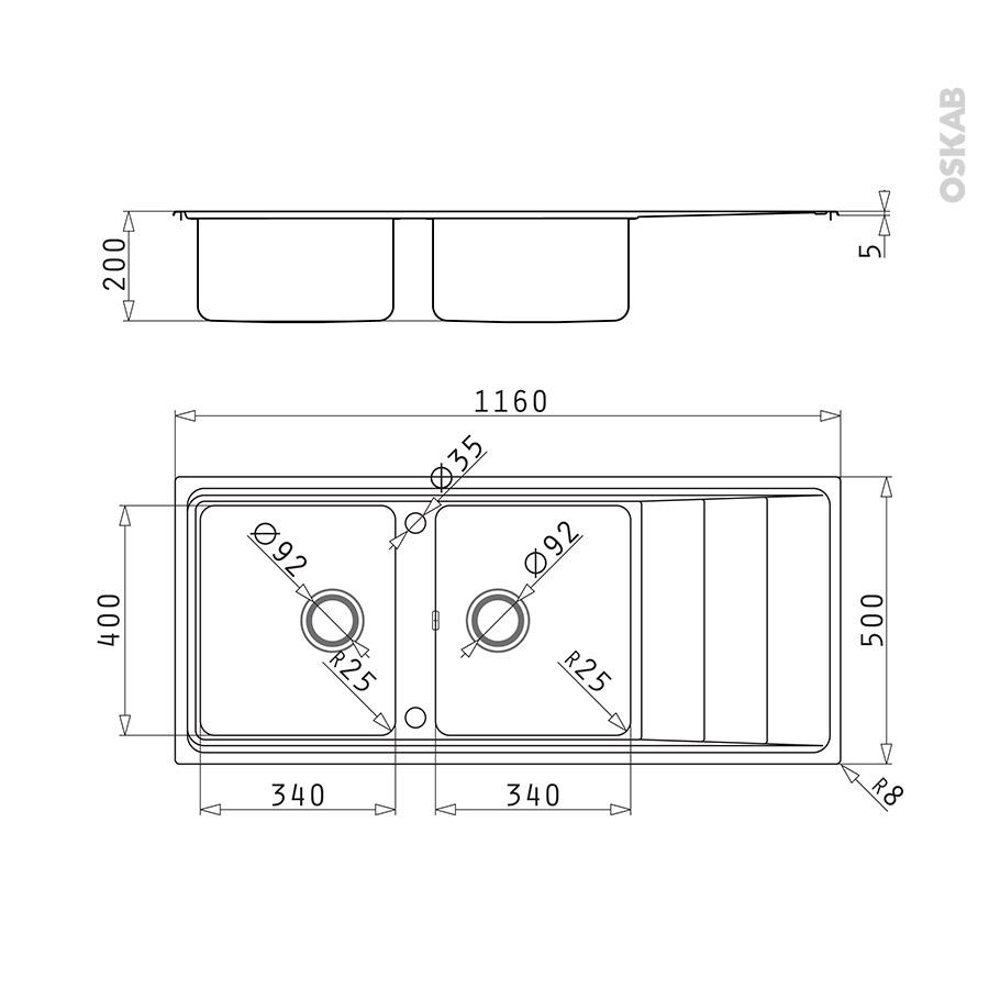 evier de cuisine comacio inox anti rayures 2 bacs gouttoir encastrer oskab. Black Bedroom Furniture Sets. Home Design Ideas