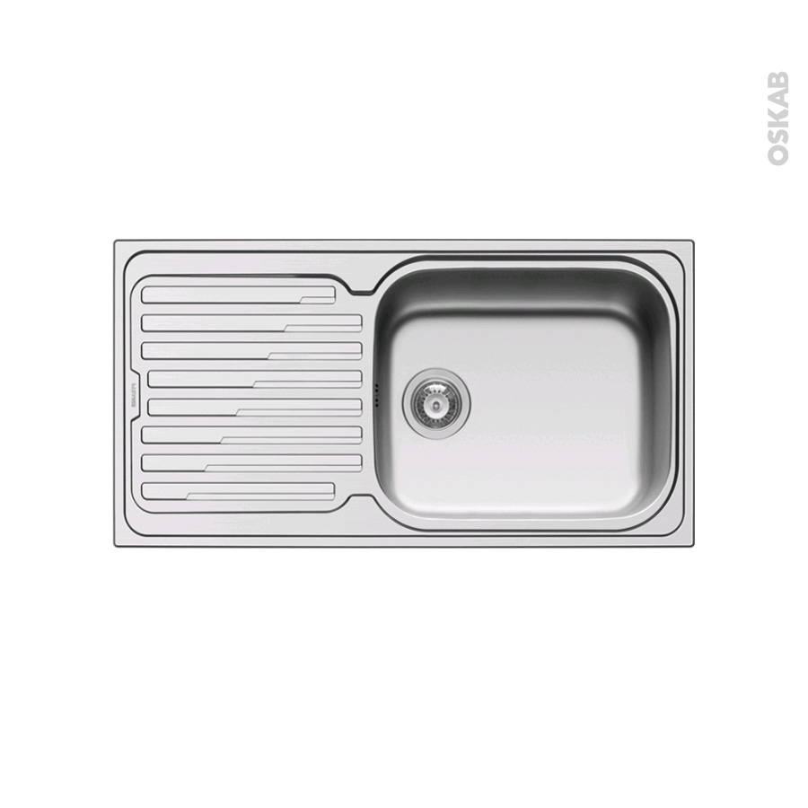 Evier de cuisine coro inox anti rayures 1 grand bac for Evier cuisine grand bac