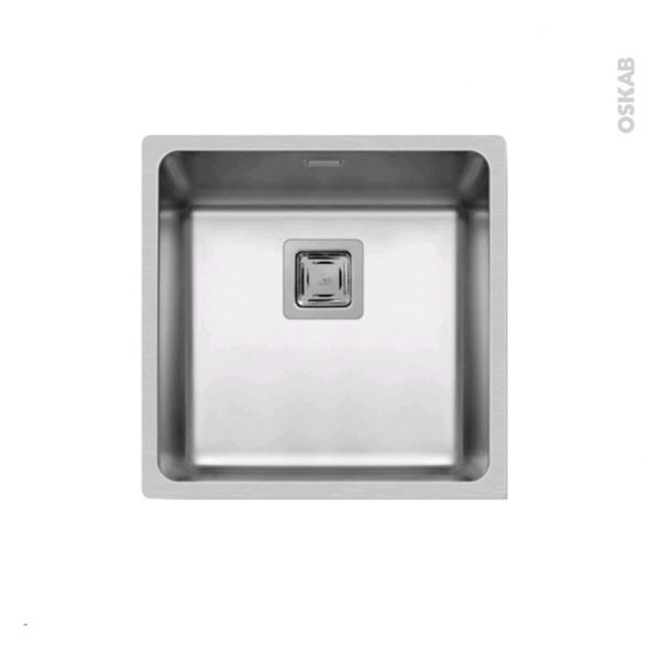 Evier lago inox lisse 1 cuve carr 44x44 sous plan oskab for Evier inox 1 cuve