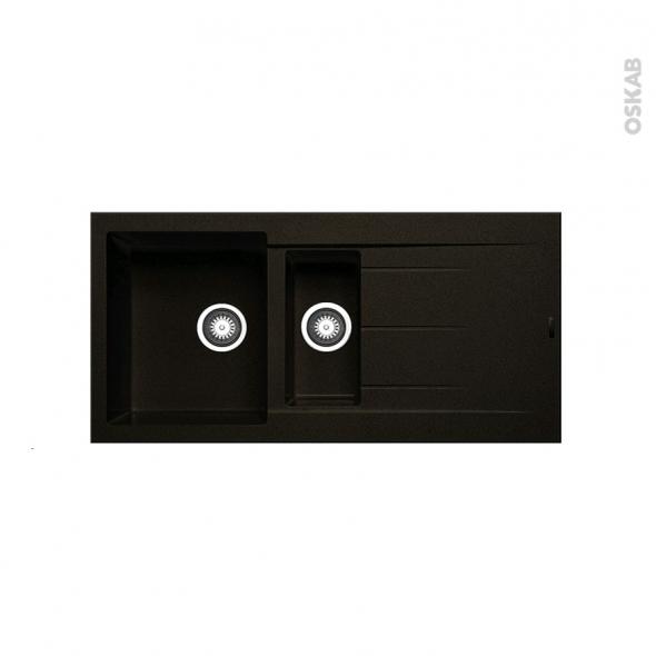 evier de cuisine latcha granit noir 1 bac 1 2 gouttoir encastrer oskab. Black Bedroom Furniture Sets. Home Design Ideas