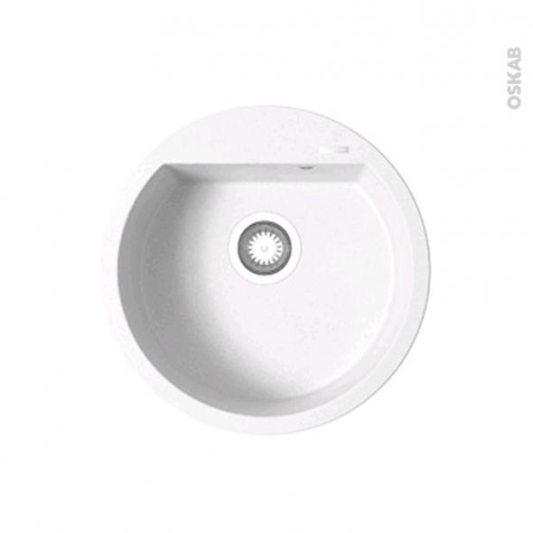 Great evier de cuisine lokka granit blanc cuve ronde cm for Evier rond blanc
