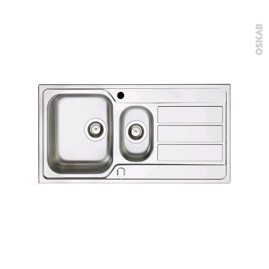 evier de cuisine marano inox anti rayures 1 bac 1 2 gouttoir encastrer oskab. Black Bedroom Furniture Sets. Home Design Ideas