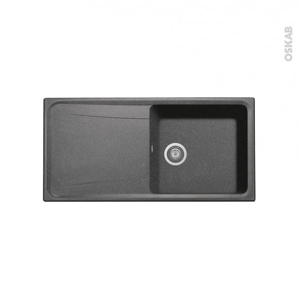 evier de cuisine ofento granit noir 1 grand bac gouttoir encastrer oskab. Black Bedroom Furniture Sets. Home Design Ideas