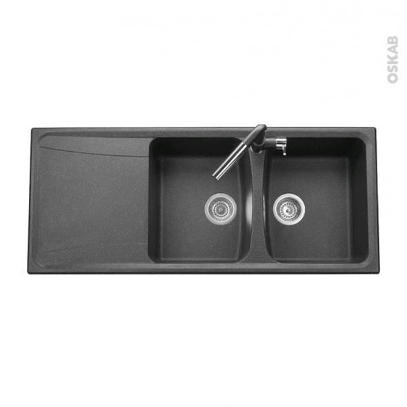 evier de cuisine ofento granit noir 2 bacs gouttoir encastrer oskab. Black Bedroom Furniture Sets. Home Design Ideas
