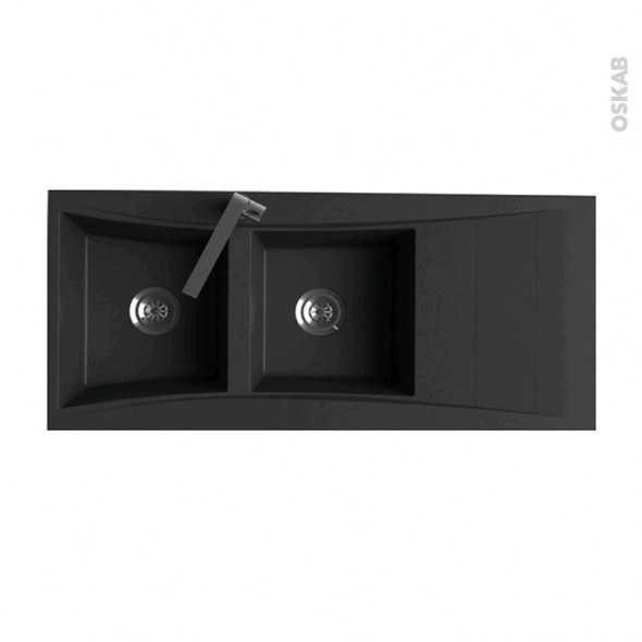 evier de cuisine vago r sine noir 2 bacs gouttoir. Black Bedroom Furniture Sets. Home Design Ideas