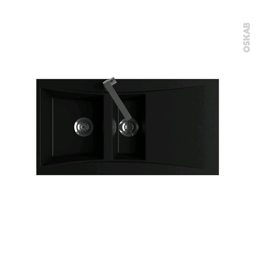 evier de cuisine vago r sine noir 1 bac 1 2 gouttoir encastrer oskab. Black Bedroom Furniture Sets. Home Design Ideas