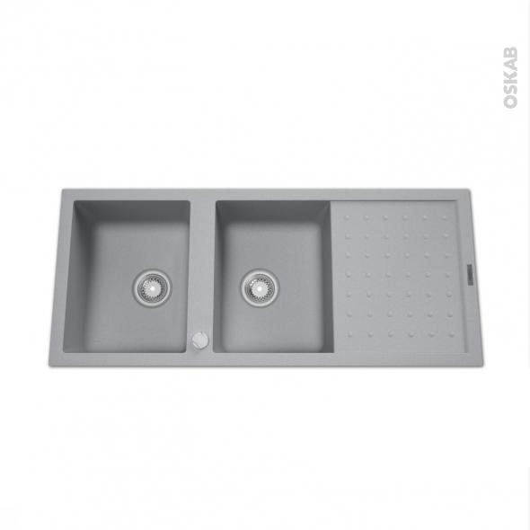 evier bolsena granit gris 2 bacs gouttoir encastrer oskab. Black Bedroom Furniture Sets. Home Design Ideas