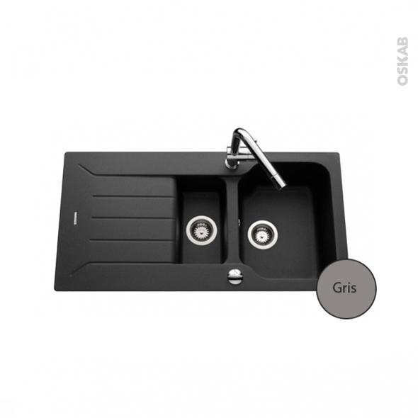 evier bracciano granit gris 1 bac 1 2 gouttoir encastrer oskab. Black Bedroom Furniture Sets. Home Design Ideas
