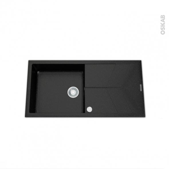 evier como granit noir 1 grand bac gouttoir encastrer oskab. Black Bedroom Furniture Sets. Home Design Ideas