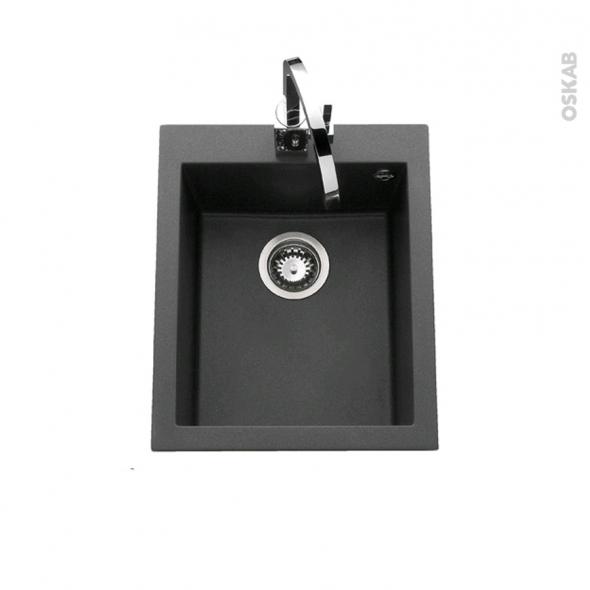 Evier de cuisine garda granit noir 1 cuve carr 41 x 50 cm for Evier cuisine 90x50
