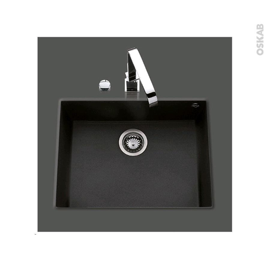 Evier de cuisine garda granit noir 1 cuve carr 58 x 44 cm for Evier cuisine carre