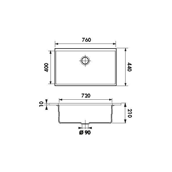 Evier garda granit noir 1 cuve carr 76x44 sous plan oskab - Evier sous plan de travail granit ...
