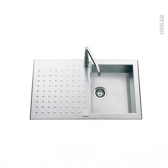 Evier iseo inox satin 1 grand bac gouttoir encastrer for Grand evier inox
