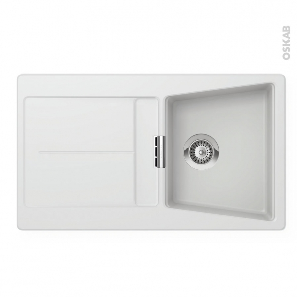 Evier koubi granit blanc 1 bac gouttoir encastrer oskab for Evier de cuisine granit blanc
