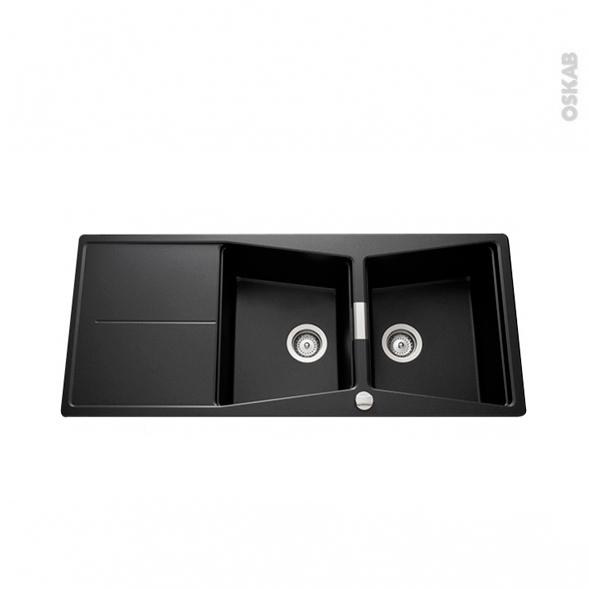 evier koubi granit noir 2 bacs gouttoir encastrer oskab. Black Bedroom Furniture Sets. Home Design Ideas