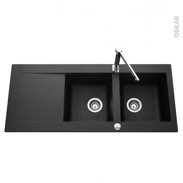 evier lugano r sine noir 2 bacs gouttoir encastrer oskab. Black Bedroom Furniture Sets. Home Design Ideas