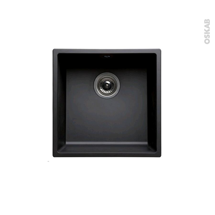 Evier de cuisine olega r sine noir 1 cuve carr 44 x 44 cm for Evier cuisine 40 cm