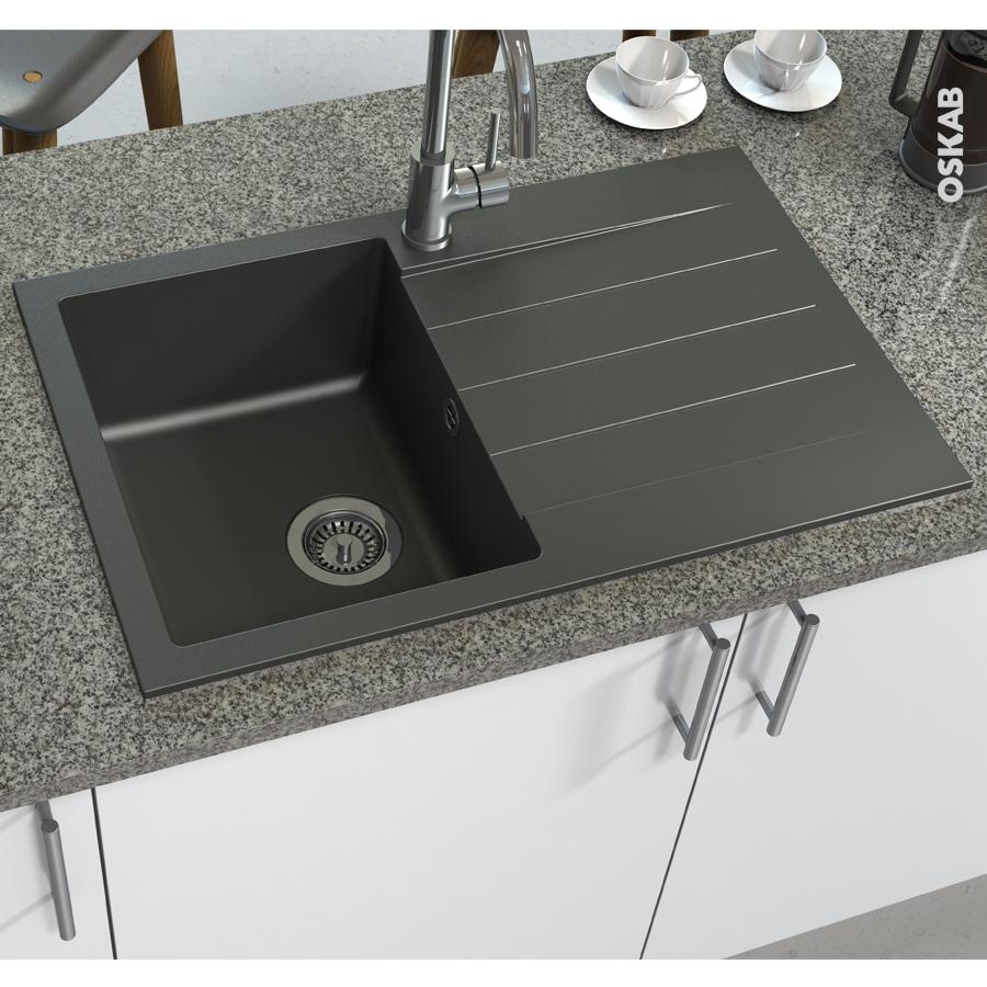 Evier de cuisine helio granit gris 1 bac gouttoir for Evier cuisine gris