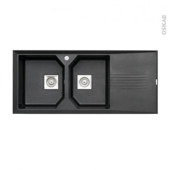 evier helix granit noir 2 bacs gouttoir encastrer astracast oskab. Black Bedroom Furniture Sets. Home Design Ideas