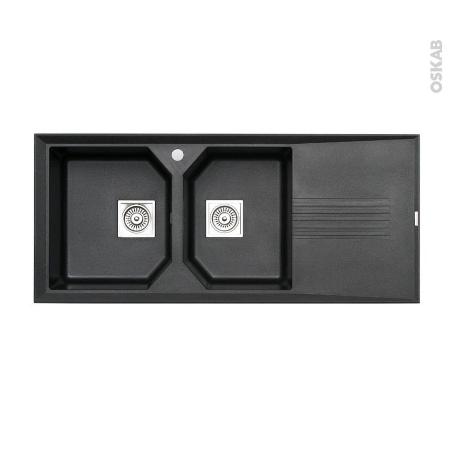 Evier de cuisine helix granit noir 2 bacs gouttoir encastrer astracast oskab - Evier granit noir 2 bacs ...