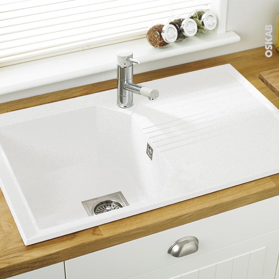 evier de cuisine helix granit blanc 1 bac gouttoir. Black Bedroom Furniture Sets. Home Design Ideas