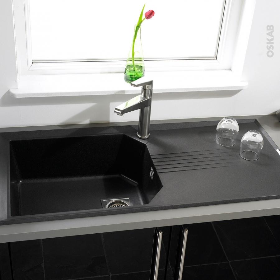 evier helix granit noir 1 grand bac gouttoir encastrer astracast oskab. Black Bedroom Furniture Sets. Home Design Ideas