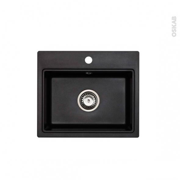 evier monza granit noir 1 cuve carr 51x43 sous plan. Black Bedroom Furniture Sets. Home Design Ideas