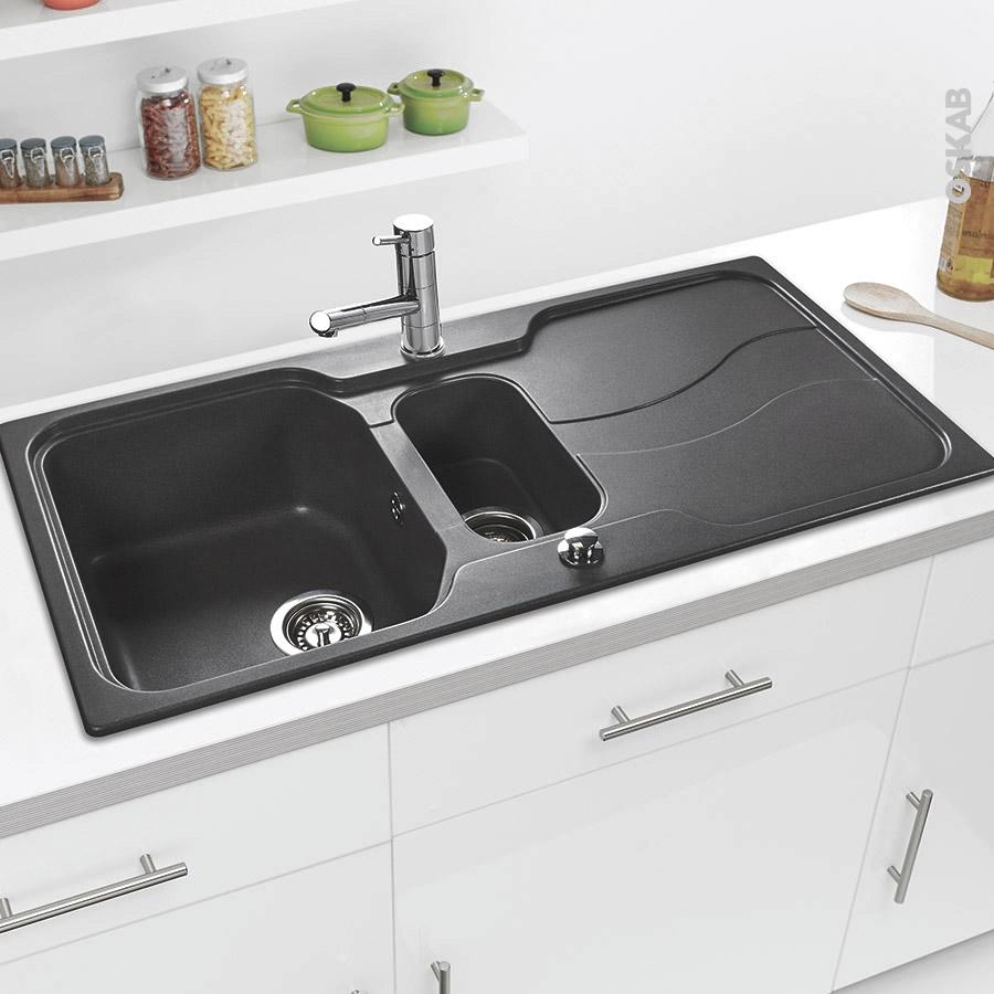 evier sorrento granit gris 1 bac 1 2 gouttoir encastrer. Black Bedroom Furniture Sets. Home Design Ideas