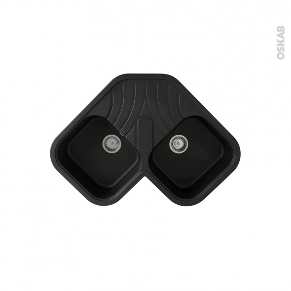 Evier de cuisine d 39 angle topsink granit noir 2 bacs for Evier de cuisine d angle