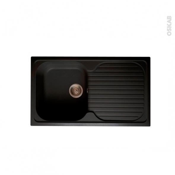 evier topsink granit noir 1 bac gouttoir encastrer. Black Bedroom Furniture Sets. Home Design Ideas