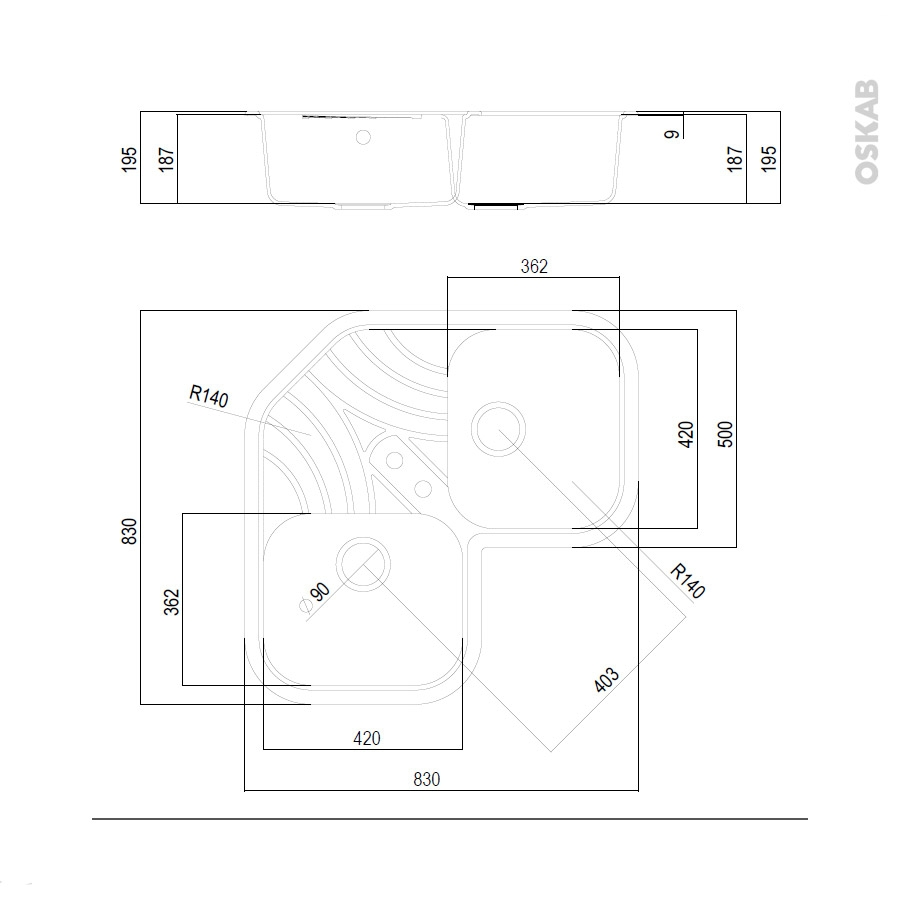 Evier cuisine granit noir maison design - Porte coulissante 90x250 ...