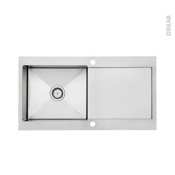 Evier vetta inox bross 1 grand bac gouttoir fleur de for Grand evier inox