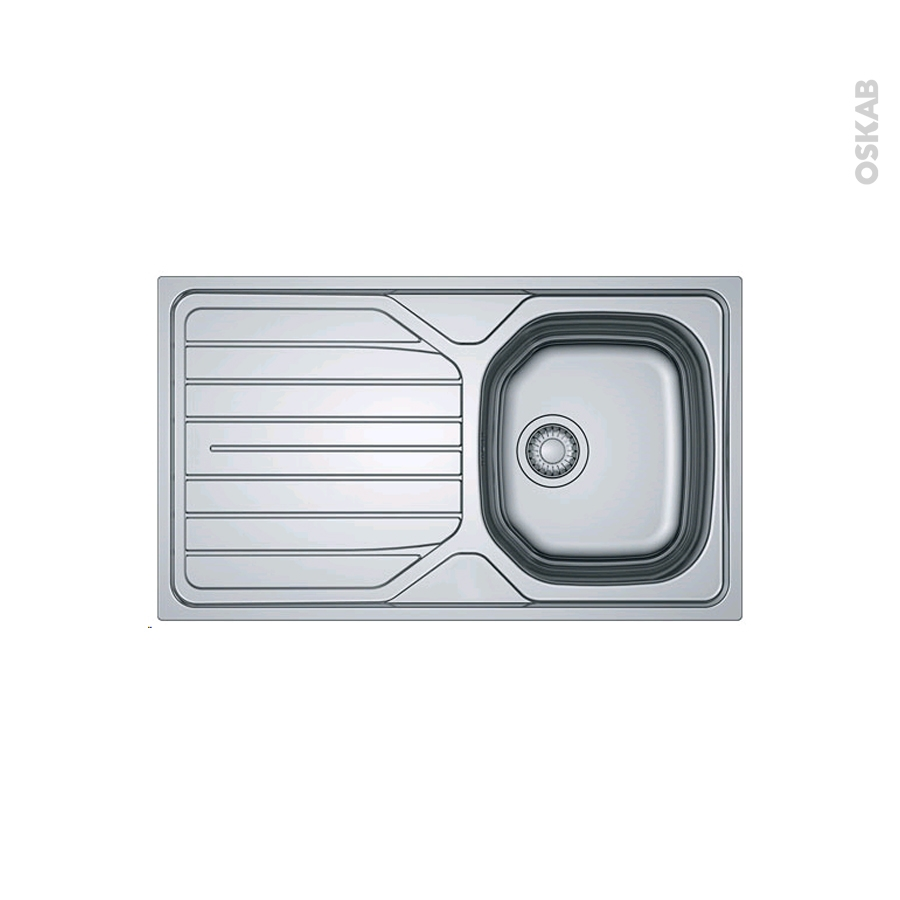Evier de cuisine reno inox lisse 1 bac gouttoir for Bac cuisine inox