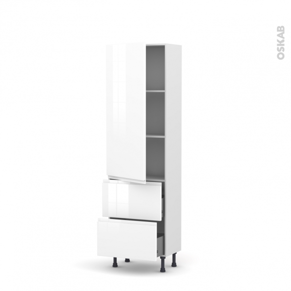 Colonne de cuisine n 2757 armoire tag re ipoma blanc for Modele de cuisine avec etagere
