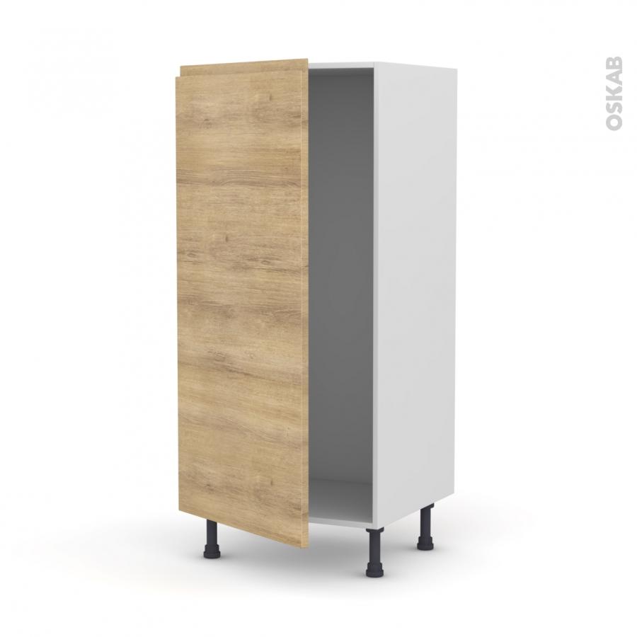 Colonne de cuisine n 27 armoire frigo encastrable ipoma ch ne naturel 1 porte l60 x h125 x p58 for Comcolonne frigo encastrable