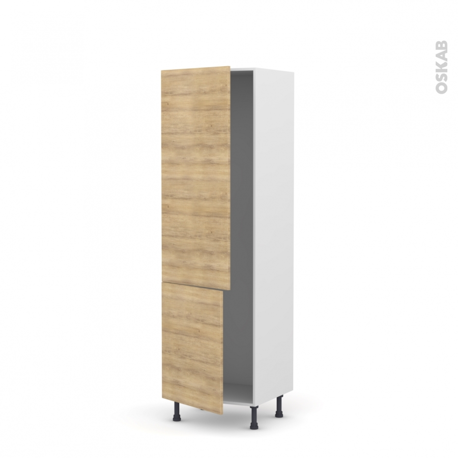 colonne de cuisine n 2721 armoire frigo encastrable hosta ch ne naturel 2 portes l60 x h195 x. Black Bedroom Furniture Sets. Home Design Ideas