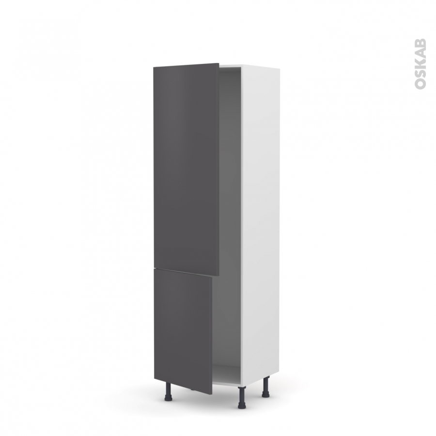 colonne de cuisine n 2721 armoire frigo encastrable ginko gris 2 portes l60 x h195 x p58 cm oskab. Black Bedroom Furniture Sets. Home Design Ideas
