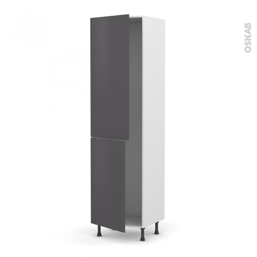 Colonne de cuisine n 2724 frigo encastrable 1 porte ginko gris 2 portes l60 x h217 x p58 cm oskab for Comcolonne frigo encastrable