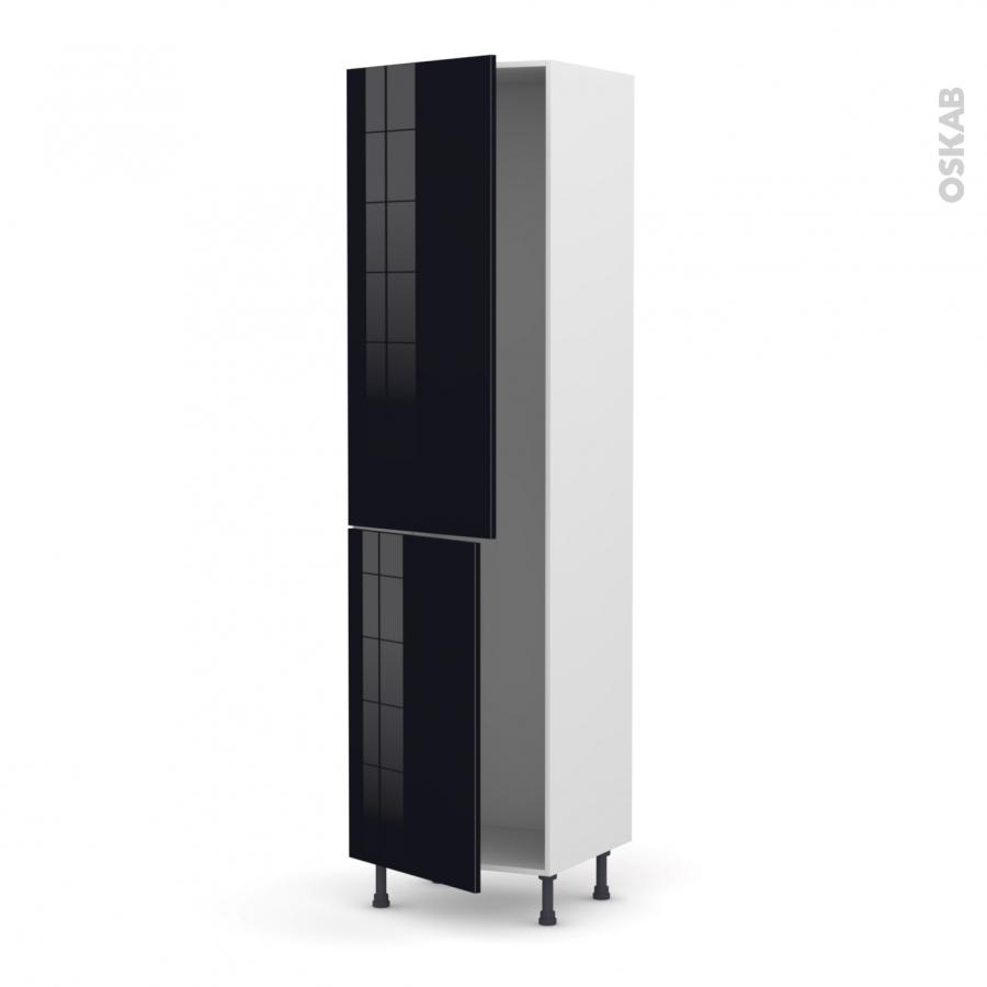 colonne de cuisine n 2724 frigo encastrable 1 porte keria noir 2 portes l60 x h217 x p58 cm oskab. Black Bedroom Furniture Sets. Home Design Ideas