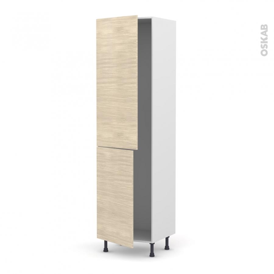Colonne de cuisine n 2724 frigo encastrable 1 porte stilo noyer blanchi 2 portes l60 x h217 x for Comcolonne frigo encastrable
