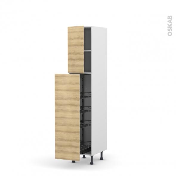 colonne de cuisine n 26 armoire de rangement hosta ch ne naturel 4 paniers plateaux l40 x h195 x. Black Bedroom Furniture Sets. Home Design Ideas